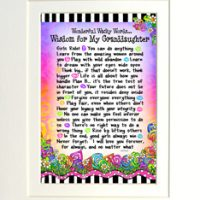 """Wonderful Wacky Words of Wisdom for My Granddaughter – 8 x 10 Matted """"Gifty"""" Art Print"""