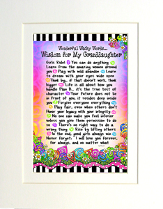 Wisdom for My Granddaughter art print matted