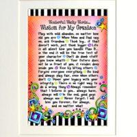 "Wonderful Wacky Words… Wisdom for My Grandson – 8 x 10 Matted ""Gifty"" Art Print"