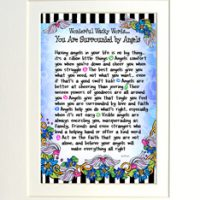 "Wonderful Wacky Words… You are Surrounded by Angels – 8 x 10 Matted ""Gifty"" Art Print"