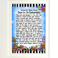 """Wonderful Wacky Words Dare to be Remarkable – 8 x 10 Matted """"Gifty"""" Art Print"""