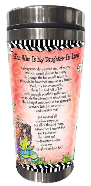 She Who is My Daughter-In-Law - stainless steel tumbler - BACK