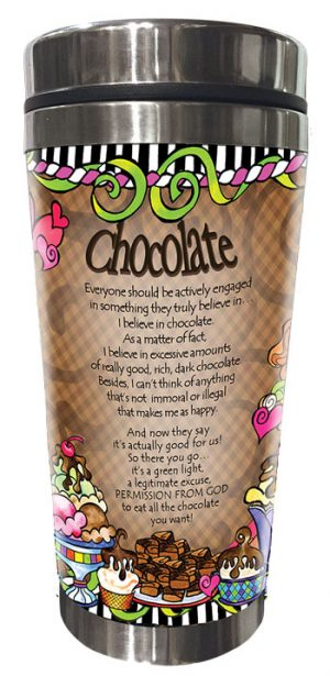 Behind every successful woman is a substantial amount of chocolate - stainless steel tumbler - BACK