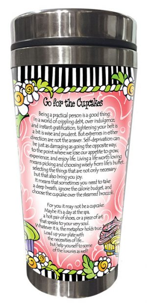 Go for the Cupcakes - stainless steel tumbler - BACK