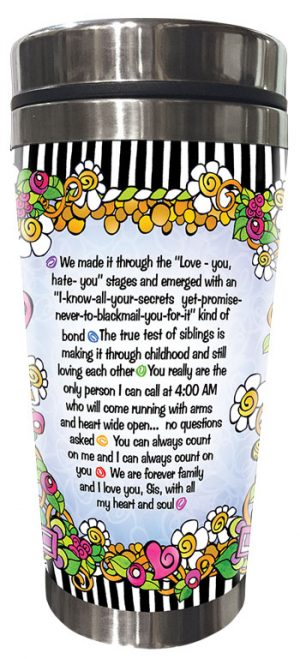 Glad You're my sister stainless steel tumbler - BACK