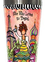 She Who Loves to Travel – Stainless Steel Tumbler