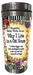 Why I live in a Cat House - Stainless Steel Tumbler - FRONT