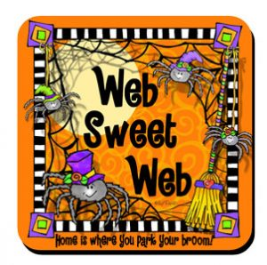 Web Sweet Web – home is where you park your broom – Coaster (Halloween)