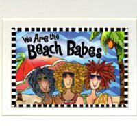 """We Are the Beach Babes – 8 x 10 Matted """"Gifty"""" Art Print with a story on the back (16×20 also available)"""