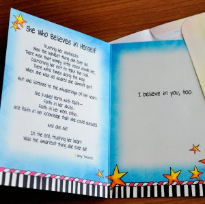 She who believes in herself greeting card - inside