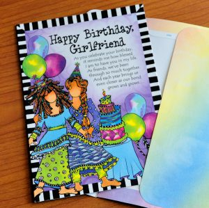 Happy Birthday Girlfriend - greeting card outside