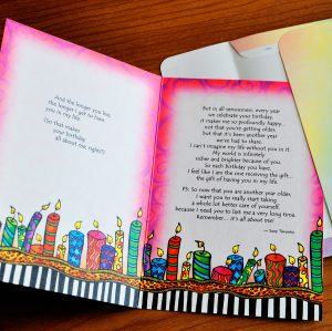More Birthdays the longer you live greeting card - inside