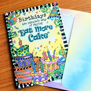Birthday - Eat more Cake - greeting card outside