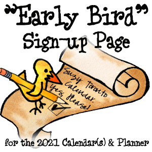 Early Bird sign-up button for the calendars and planner