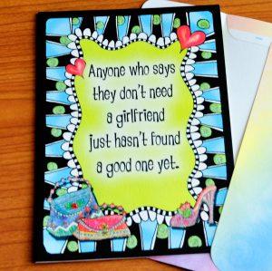 Girlfriends greeting card - outside