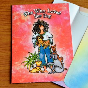 She who Loves her Dog greeting card - outside
