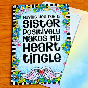 Heart Tingling Sisters greeting card outside