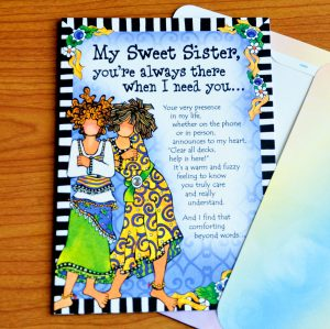 My Sweet Sister greeting card outside