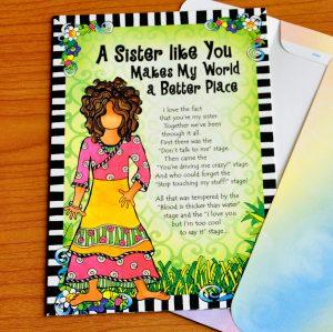A Sister like you greeting card - outside