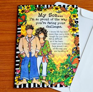 Son facing challenges greeting card - outside