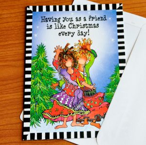 Friend at Christmas Greeting card - outside