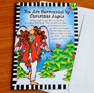 Angels at Christmas greeting card - outside