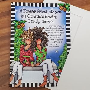 Forever Friends at Christmas greeting card - outside - no glitter