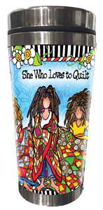 Loves to Quilt Stainless Steel Tumbler FRONT