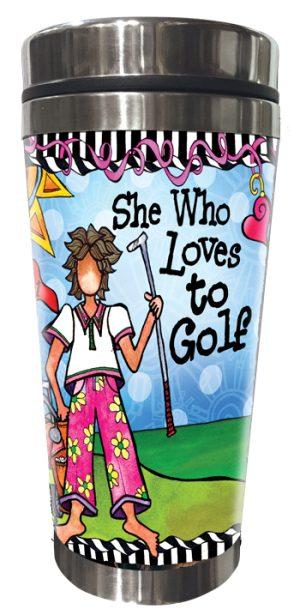 Golfing (female) stainless steel Tumbler FRONT