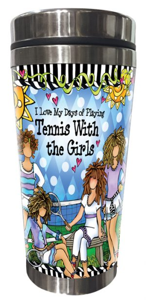 Tennis with Girls Stainless Steel Tumbler FRONT