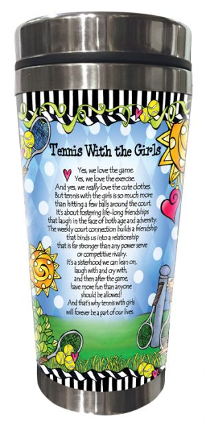 Tennis with Girls Stainless Steel Tumbler BACK