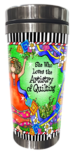 Artistry of Quilting Stainless Steel Tumbler FRONT