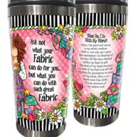 Ask not what your Fabric can do for you… but what you can do with such great Fabric – (w FREE Coaster) Stainless Steel Tumbler