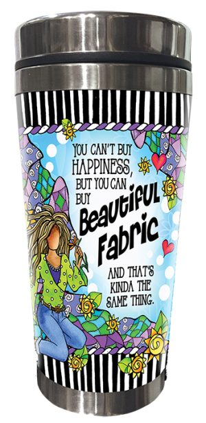 Beautiful Fabric Stainless Steel Tumbler - FRONT