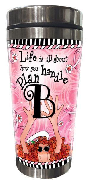 Plan B pink ribbon stainless steel tumbler FRONT