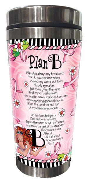 Plan B pink ribbon stainless steel tumbler BACK