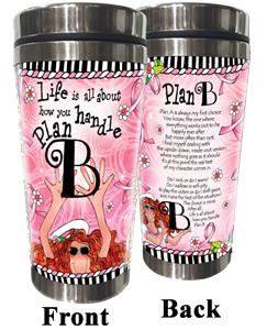 Plan B pink ribbon stainless steel tumbler