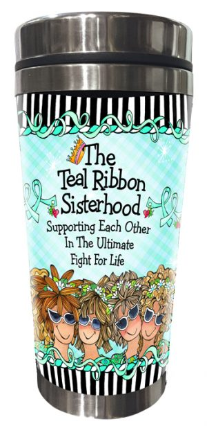 Teal Ribbon Stainless Steel Tumbler FRONT