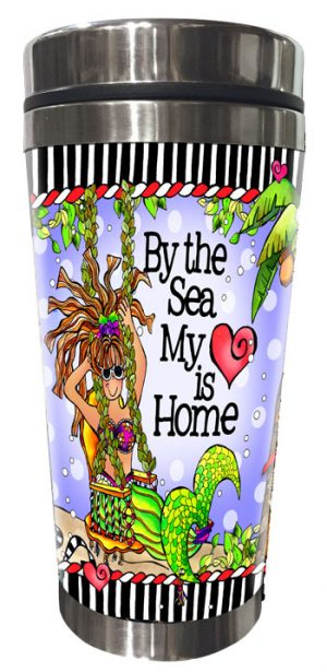 by the Sea my Heart is Home Stainless Steel Tumbler (mermaids) - FRONT