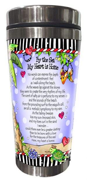 by the Sea my Heart is Home Stainless Steel Tumbler (mermaids) - BACK