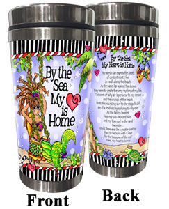 by the Sea my Heart is Home Stainless Steel Tumbler (mermaids)