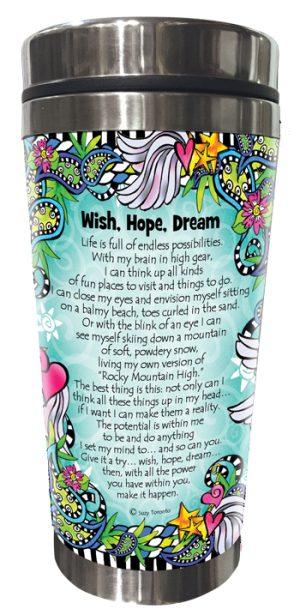 Wish Hope Dream Stainless Steel tumbler BACK