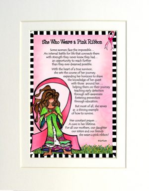 wears a pink ribbon - matted art print