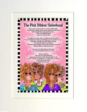 Pink Ribbon Sisterhood - matted art print