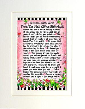 WORDS - Pink Ribbon Sisterhood - matted art print