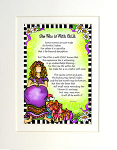She who is with child - matted art print