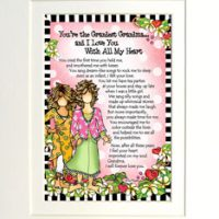 "You're the Grandest Grandma… and I Love You With All My Heart – 8 x 10 Matted ""Gifty"" Art Print"