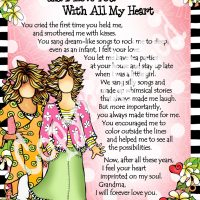 """You're the Grandest Grandma… and I Love You With All My Heart – 8 x 10 Matted """"Gifty"""" Art Print"""