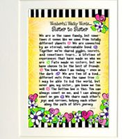 "Wonderful Wacky Words… Sister to Sister – 8 x 10 Matted ""Gifty"" Art Print"