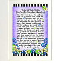 "Wonderful Wacky Words… You're the Grandest Grandma – 8 x 10 Matted ""Gifty"" Art Print"